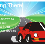 The screen of the getting there game, showing a red car on a street
